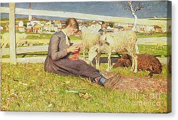 A Girl Knitting Canvas Print by Giovanni Segantini