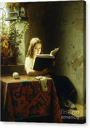 A Girl Reading Canvas Print by Johann Georg Meyer