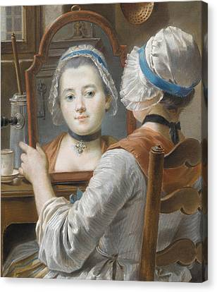 A Girl Wearing A Bonnet Canvas Print by French School