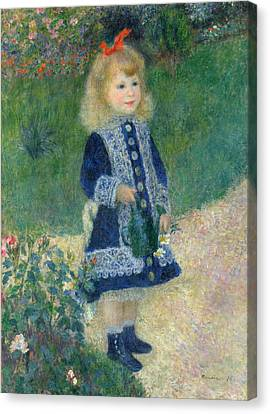 A Girl With A Watering Can 1876 Canvas Print by Pierre Auguste Renoir