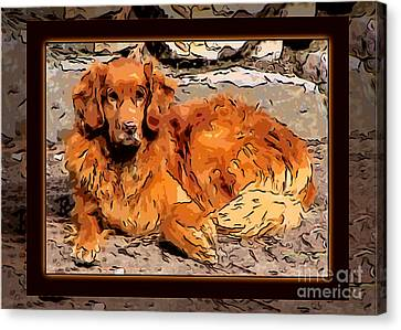 A Golden Retriever Resting Abstract Dog Art Canvas Print by Omaste Witkowski