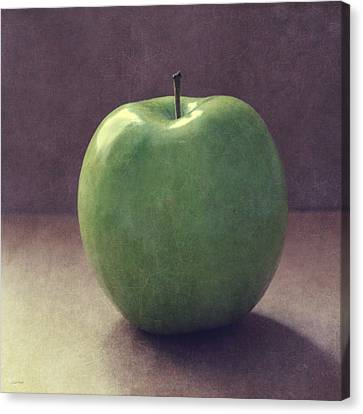 A Green Apple- Art By Linda Woods Canvas Print by Linda Woods