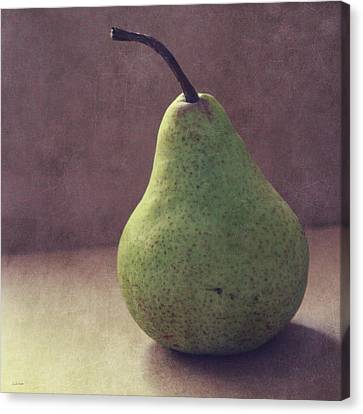 A Green Pear- Art By Linda Woods Canvas Print by Linda Woods