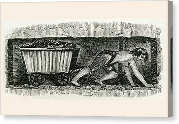 A Hurrier In A Halifax Coal Pit. A Canvas Print by Vintage Design Pics