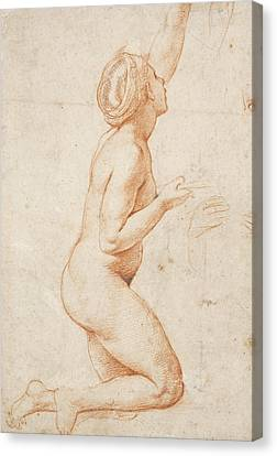 A Kneeling Nude Woman With Her Left Arm Raised Canvas Print by Raphael