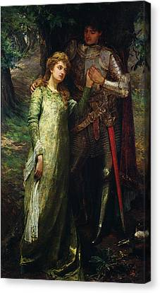 A Knight And His Lady Canvas Print by William G Mackenzie