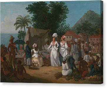 A Linen Market With A Linen-stall And Vegetable Seller In The West Indies Canvas Print by Agostino Brunias