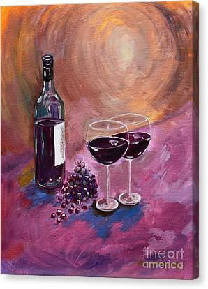 A Little Wine On My Canvas - Wine - Grapes Canvas Print by Jan Dappen