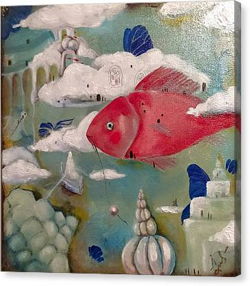 A Lucid Dream Of A Traveling  Fish About A Stolen Pearl. Canvas Print by Nadia Heppell