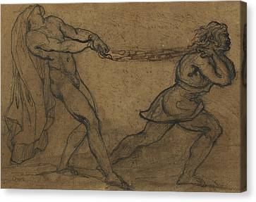 A Male Nude Pulled By Another Male Canvas Print by Theodore Gericault