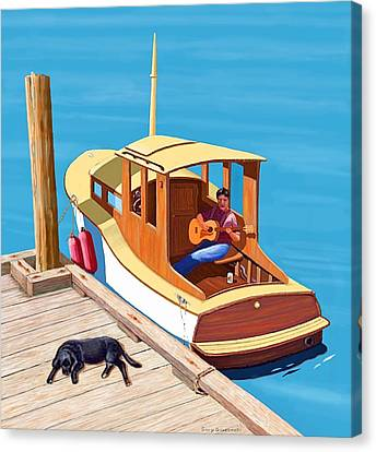 A Man, A Dog And An Old Boat Canvas Print by Gary Giacomelli
