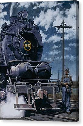 A Man And His Machine Canvas Print by David Mittner