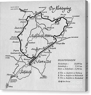 A Map Of The Nurburgring Circuit Canvas Print by German School