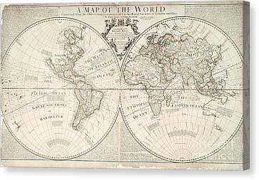 A Map Of The World Canvas Print by John Senex