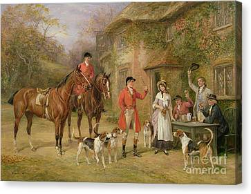 A Meeting At The Three Pigeons Canvas Print by Heywood Hardy