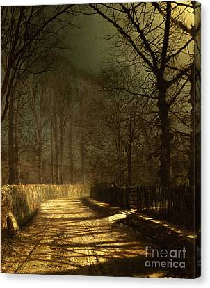 John Atkinson Grimshaw Canvas Print featuring the painting A Moonlit Lane by John Atkinson Grimshaw