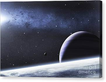 A Mysterious Light Illuminates A Small Canvas Print by Justin Kelly