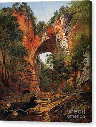 A Natural Bridge In Virginia Canvas Print by David Johnson
