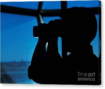 A Navy Air Traffic Controller Maintains Canvas Print by Michael Wood