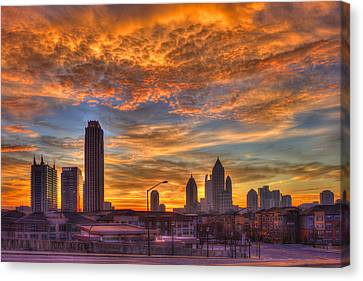 A New Day Atlantic Station Sunrise Canvas Print by Reid Callaway