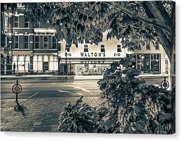 A Night On The Bentonville Arkansas Square Sepia Black White Canvas Print by Gregory Ballos