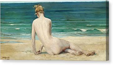 A Nude Seated On The Shore Canvas Print by John Reinhard Weguelin