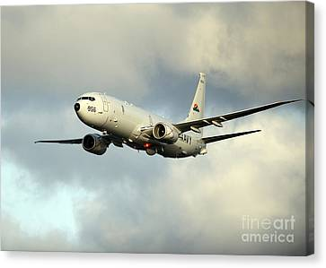 A P-8a Poseidon In Flight Canvas Print by Stocktrek Images