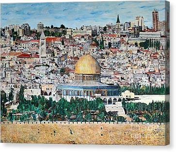 A Panoramic View Of Jerusalem Canvas Print by Abraham Zimmermann