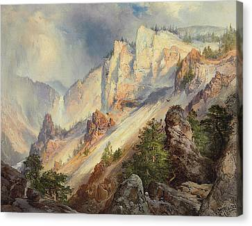 A Passing Shower In The Yellowstone Canyon Canvas Print by Thomas Moran