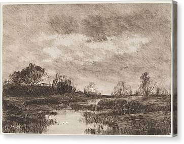 A Pastoral Landscape With A Stream Canvas Print by Daniel Kotz