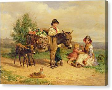 A Pause On The Way To Market Canvas Print by J O Bank