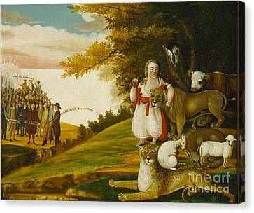 A Peaceable Kingdom With Quakers Bearing Banners Canvas Print by Celestial Images