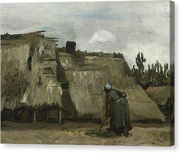A Peasant Woman Digging In Front Of Her Cottage Canvas Print by Vincent Van Gogh