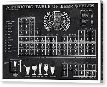 A Periodic Table Of Beer Styles Canvas Print by Christopher Williams