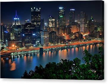 A Photographic Pittsburgh Night Canvas Print by Frozen in Time Fine Art Photography