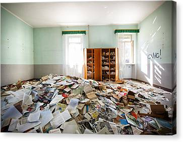 A Pile Of Knowledge - Abandoned School Canvas Print by Dirk Ercken