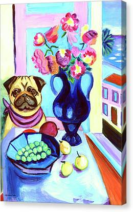 A Pug's Dinner At Henri's - Pug Canvas Print by Lyn Cook