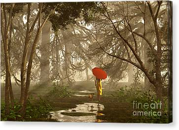 A Quiet Walk After A Rainy Day Canvas Print by Diana Voyajolu