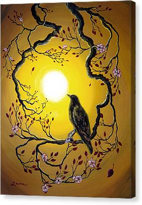 A Raven Remembers Spring Canvas Print by Laura Iverson