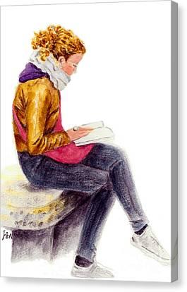 A Reading Girl In Milan Canvas Print by Jingfen Hwu