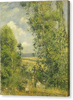 A Rest In The Meadow Canvas Print by Camille Pissarro