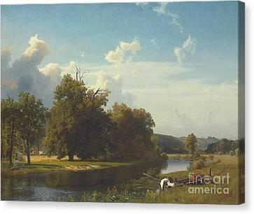 A River Landscape Westphalia Canvas Print by Albert Bierstadt