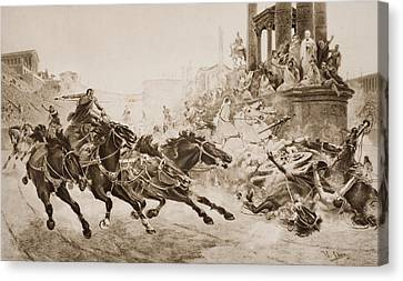 A Roman Chariot Race. From The Picture Canvas Print by Vintage Design Pics
