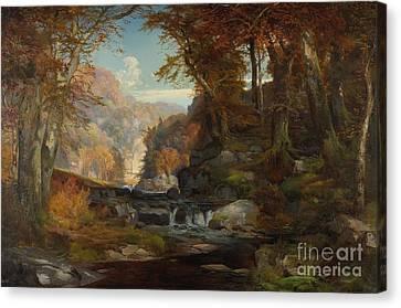 A Scene On The Tohickon Creek Canvas Print by Thomas Moran