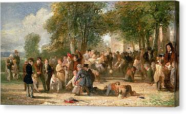 A School Playground Canvas Print by Thomas Webster