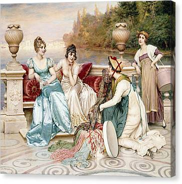 A Selection Of Silk And Satin Canvas Print by Joseph Frederic Charles Soulacroix