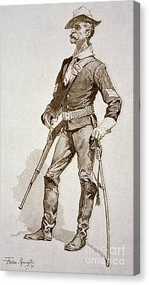 A Sergeant Of The Us Cavalry Canvas Print by Frederic Remington