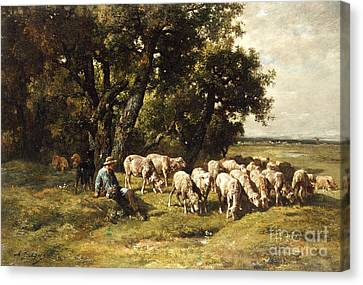 A Shepherd And His Flock Canvas Print by Charles Emile Jacques