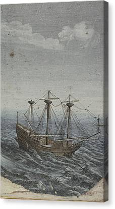 A Ship In A Stormy Sea Canvas Print by Celestial Images