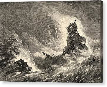 A Ship Of The Spanish Armada Wrecked On Canvas Print by Vintage Design Pics